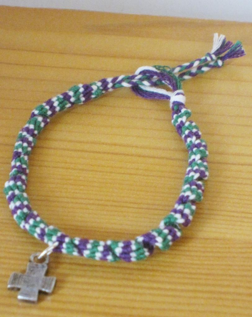 "Bracelet rumba ""croix argent plate"" en violet et vert"