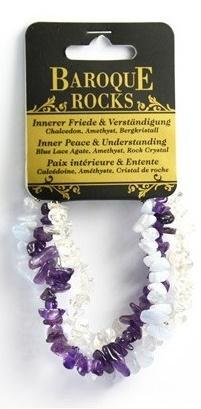 Bracelet en calcédoine, améthyste et cristal de roche