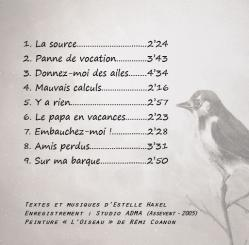 Pochette troisième cd verso