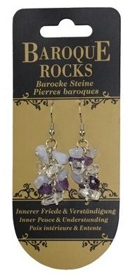 Boucles d'oreilles en calcédoine, améthyste et cristal de roche