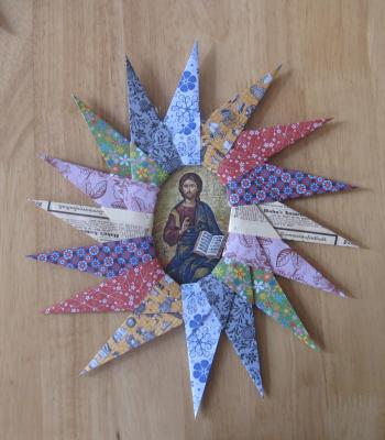 Cadre Christ coloré