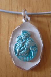 Pendentif saint antoine de padoue bleu clair 1
